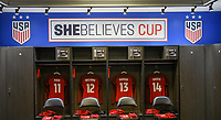 Columbus, Ohio - Thursday March 01, 2018: Mallory Pugh, Lynn Williams, Alex Morgan, Sofia Huerta, USWNT locker room, SheBelieves Cup during a 2018 SheBelieves Cup match between the women's national teams of the United States (USA) and Germany (GER) at MAPFRE Stadium.
