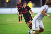 LAKE BUENA VISTA, FL - JULY 22: Sean Davis #27 of the New York Red Bulls dribbles the ball during a game between New York Red Bulls and FC Cincinnati at Wide World of Sports on July 22, 2020 in Lake Buena Vista, Florida.