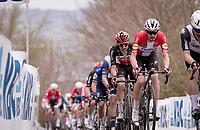 eventual race winner Kasper Asgreen (DEN/Deceuninck - Quick Step) up the Oude Kwaremont<br /> <br /> 105th Ronde van Vlaanderen 2021 (MEN1.UWT)<br /> <br /> 1 day race from Antwerp to Oudenaarde (BEL/264km) <br /> <br /> ©kramon