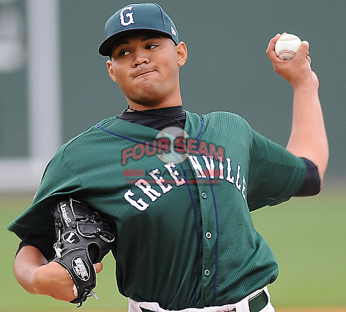April 19, 2009: LHP Fabian Williamson (28) of the Greenville Drive, Class A affiliate of the Boston Red Sox, in a game against the Greensboro Grasshoppers at Fluor Field at the West End in Greenville, S.C. Photo by: Tom Priddy/Four Seam Images