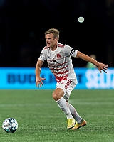 FOXBOROUGH, MA - AUGUST 21: Victor Falck #23 of Richmond Kickers dribbles at midfield during a game between Richmond Kickers and New England Revolution II at Gillette Stadium on August 21, 2020 in Foxborough, Massachusetts.