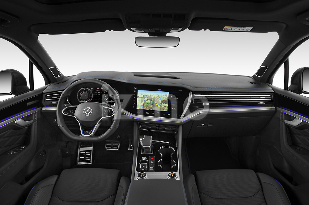 Stock photo of straight dashboard view of 2021 Volkswagen Touareg R 5 Door SUV Dashboard
