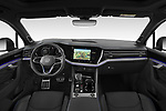 Stock photo of straight dashboard view of 2021 Volkswagen Touareg R 5 Door SUV Dashboard