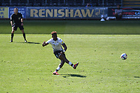 Jamal Lowe of Swansea City scores his side's first goal during the Sky Bet Championship match Swansea City and Wycombe Wanderers at Liberty Stadium in Swansea, Wales. Sporting stadiums around the UK remain under strict restrictions due to the Coronavirus Pandemic as Government social distancing laws prohibit fans inside venues resulting in games being played behind closed doors.<br /> Saturday 17 April 2021