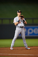 Mesa Solar Sox third baseman Nolan Jones (10), of the Cleveland Indians organization, during an Arizona Fall League game against the Salt River Rafters on September 19, 2019 at Salt River Fields at Talking Stick in Scottsdale, Arizona. Salt River defeated Mesa 4-1. (Zachary Lucy/Four Seam Images)