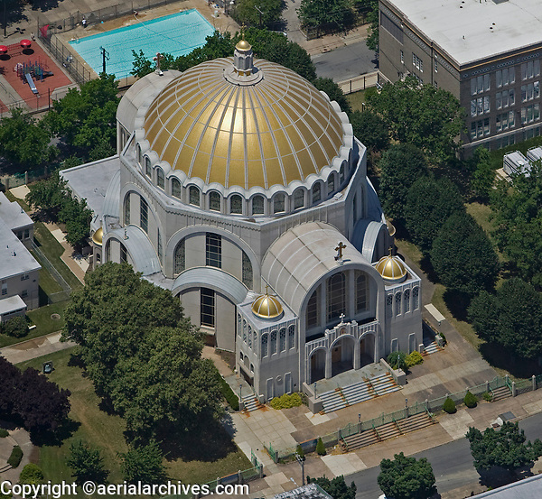 aerial photograph of the Ukrainian Catholic Cathedral of the Immaculate Conception Philadelphia, PA, Pennsylvania