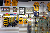 Pictured: Merchandise and collectables in the club shop in Newport, Wales, UK. Thursday 14 February 209<br /> Re: The city of Newport is preparing to host the FA Cup match between Newport County and Manchester City at Rodney Parade, Newport, Wales, UK.