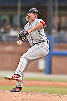 Greenville Drive starting pitcher Michael Kopech (34) delivers a pitch during a game against the Asheville Tourists on July 12, 2015 in Asheville, North Carolina. The Drive defeated the Tourists 9-3. (Tony Farlow/Four Seam Images)