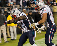 The Carolina Panthers play the New England Patriots at Bank of America Stadium in Charlotte North Carolina on Monday Night Football.  The Panthers defeated the Patriots 24-20.  New England Patriots running back Stevan Ridley (22) celebrates his touchdown run
