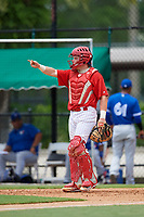GCL Phillies East catcher Mitchell Edwards (19) signals to the defense during a game against the GCL Blue Jays on August 10, 2018 at Carpenter Complex in Clearwater, Florida.  GCL Blue Jays defeated GCL Phillies East 8-3.  (Mike Janes/Four Seam Images)
