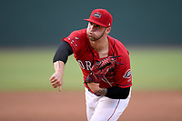 Starting pitcher Alex Scherff (18) of the Greenville Drive earned the 11-1 win by pitching seven innings against the Asheville Tourists on Friday, August 23, 2019, at Fluor Field at the West End in Greenville, South Carolina. (Tom Priddy/Four Seam Images)