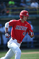 Jared Oliva (42) of the Arizona Wildcats runs the bases during a game against the UCLA Bruins at Jackie Robinson Stadium on March 19, 2017 in Los Angeles, California. UCLA defeated Arizona, 8-7. (Larry Goren/Four Seam Images)