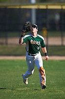 Farmingdale State Rams right fielder Brandon Ernest (6) catches a fly ball during the second game of a doubleheader against the FDU-Florham Devils on March 15, 2017 at Lake Myrtle Park in Auburndale, Florida.  FDU-Florham defeated Farmingdale 8-4.  (Mike Janes/Four Seam Images)