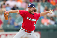 Oklahoma City RedHawks pitcher Rudy Owens (9) delivers a pitch to the plate during the Pacific Coast League baseball game against the Round Rock Express on August 1, 2014 at the Dell Diamond in Round Rock, Texas. The Express defeated the RedHawks 6-5. (Andrew Woolley/Four Seam Images)