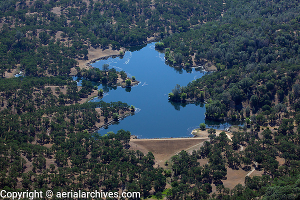 aerial photograph of the Highland Springs Reservoir,  Lake County, California