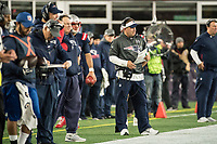 FOXBORO, MA - OCTOBER 10: New England coach Josh McDaniels during a game between New York Giants and New England Patriots at Gillettes on October 10, 2019 in Foxboro, Massachusetts.