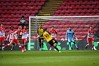 24th April 2021; Vicarage Road, Watford, Hertfordshire, England; English Football League Championship Football, Watford versus Millwall; Dan Gosling of Watford with an effort on goal but saved