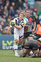 20130309 Copyright onEdition 2013©.Free for editorial use image, please credit: onEdition..Michael Classens of Bath Rugby passes during the LV= Cup semi final match between Harlequins and Bath Rugby at The Twickenham Stoop on Saturday 9th March 2013 (Photo by Rob Munro)..For press contacts contact: Sam Feasey at brandRapport on M: +44 (0)7717 757114 E: SFeasey@brand-rapport.com..If you require a higher resolution image or you have any other onEdition photographic enquiries, please contact onEdition on 0845 900 2 900 or email info@onEdition.com.This image is copyright onEdition 2013©..This image has been supplied by onEdition and must be credited onEdition. The author is asserting his full Moral rights in relation to the publication of this image. Rights for onward transmission of any image or file is not granted or implied. Changing or deleting Copyright information is illegal as specified in the Copyright, Design and Patents Act 1988. If you are in any way unsure of your right to publish this image please contact onEdition on 0845 900 2 900 or email info@onEdition.com