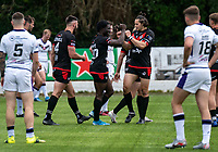 Gideon Boafo of London Broncos celebrates his try during the Betfred Championship match between London Broncos and Newcastle Thunder at The Rock, Rosslyn Park, London, England on 9 May 2021. Photo by Liam McAvoy.