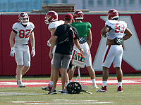 Arkansas tight ends Hudson Henry (from left), Nathan Bax and Blayne Toll move through a drill Tuesday, Sept. 8, 2020, during practice at the university football practice fields in Fayetteville. Visit nwaonline.com/200909Daily/ for today's photo gallery.<br /> (NWA Democrat-Gazette/Andy Shupe)
