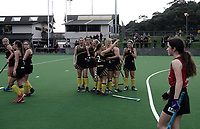 Dalefield celebrations cease when they realise their matchwinning goal has been disalllowed during the women's premier one Wellington Hockey final between Hutt United and Dalefield at National Hockey Stadium in Wellington, New Zealand on Saturday, 26 September 2020. Photo: Dave Lintott / lintottphoto.co.nz