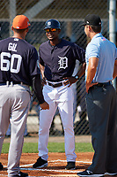 GCL Tigers East manager Carmelo Jaime (40) during the lineup exchange before a game against the GCL Tigers West on July 20, 2017 at TigerTown in Lakeland, Florida.  GCL Tigers West defeated GCL Tigers East 6-5.  (Mike Janes/Four Seam Images)