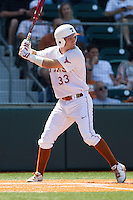 Texas Longhorns catcher Jeremy Montalbano #33 at bat against the Oklahoma Sooners in the NCAA baseball game on April 6, 2013 at UFCU DischFalk Field in Austin, Texas. The Longhorns defeated the rival Sooners 1-0. (Andrew Woolley/Four Seam Images).
