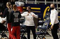 BERKELEY, CA - DECEMBER 13: Head coach Tara VanDerveer of the Stanford Cardinal elbow bumps Lacie Hull #24 before a game between University of California-Berkeley and Stanford Women's Basketball at Haas Pavilion on December 13, 2020 in Berkeley, California.