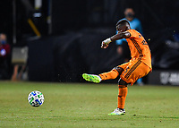 LAKE BUENA VISTA, FL - JULY 18: Darwin Quintero #23 of the Houston Dynamo passes the ball during a game between Houston Dynamo and Portland Timbers at ESPN Wide World of Sports on July 18, 2020 in Lake Buena Vista, Florida.