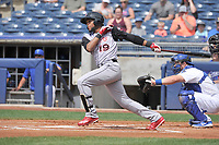 Arkansas Travelers second baseman Gianfranco Wawoe (19) swings during a game against the Tulsa Drillers at Oneok Field on May 22, 2017 in Tulsa, Oklahoma.  Arkansas won 5-4.  (Dennis Hubbard/Four Seam Images)