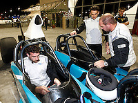 Photo: Richard Lane/Richard Lane Photography. London Wasps in Abu Dhabi for their LV= Cup game against Harlequins on 30st January 2011. 28/01/2011. Marty Veale and Nic Berry in a drag racing car at a raceway in Abu Dhabi.