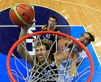 Germany`s Dirk Nowitzki and French Noah Joakim fight for the ball during round 1, Group B, basketball game between Franve and Germany in Lithuania, Siauliai, Siauliu arena, Eurobasket 2011, Friday, September 2, 2011. (photo: Pedja Milosavljevic/STARSPORT)