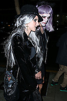WEST HOLLYWOOD, CA, USA - OCTOBER 31: Shenae Grimes and Josh Beech arrive at Adam Lambert's 2nd Annual Halloween Bash held at Bootsy Bellows on October 31, 2014 in West Hollywood, California, United States. (Photo by Xavier Collin/Celebrity Monitor)