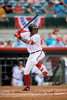 Florida Fire Frogs Cristian Pache (25) during a game against the Daytona Tortugas on April 7, 2018 at Osceola County Stadium in Kissimmee, Florida.  Daytona defeated Florida 4-3 in a six inning rain shortened game.  (Mike Janes/Four Seam Images)