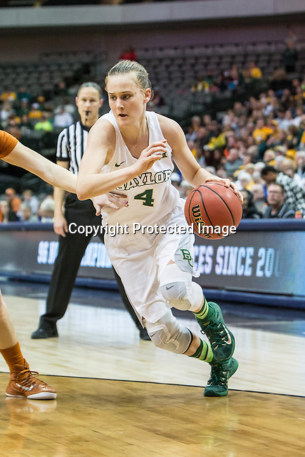 guard Kristy Wallace (4) in action during Big 12 women's basketball championship final, Sunday, March 08, 2015 in Dallas, Tex. (Dan Wozniak/TFV Media via AP Images)