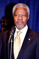 OTTAWA , November 17th 2001 FILE PHOTO<br /> <br />  UN General secretary Kofi Annan (R) adress the media after a private meeting  , held at the Ministry of Foreign Affairs and International Trade Building, outside the G-20 perimeter , on the 2nd day of the G-20 summit in Ottawa, CANADA, November 17th, 2001<br /> <br /> Annan is the UN secretary-general since 199), born in Kumasi, Ghana. He studied in the USA and Switzerland, joining the UN in 1962, and held posts in the High Commission for Refugees and the World Health Organization. After joining the UN secretariat, he became (1993) under-secretary -general for peacekeeping operations. He replaced Boutros Boutros-Ghali to become the first secretary-general from sub-Saharan Africa.