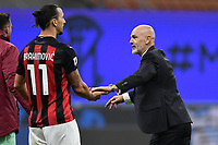 Zlatan Ibrahimovic and Stefano Pioli coach of AC Milan celebrate at the end of the Serie A football match between FC Internazionale and AC Milan at stadio San Siro in Milano (Italy), October 17th, 2020. Photo Image Sport / Insidefoto