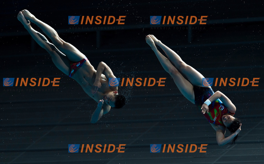WANG Han and YANG Hao CHN gold medal<br /> Diving - Mixed 3m Synchro springboard final<br /> Day 10 02/08/2015<br /> XVI FINA World Championships Aquatics Swimming<br /> Kazan Tatarstan RUS July 24 - Aug. 9 2015 <br /> Photo Giorgio Perottino/Deepbluemedia/Insidefoto