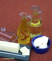 JA04-038x  Food - high in lipids - oils, butter, shortening (lard)