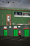 Glentoran 2 Cliftonville 1, 22/10/2016. The Oval, NIFL Premiership. A visiting player arriving at The Oval, Belfast before Glentoran hosted city-rivals Cliftonville in an NIFL Premiership match. Glentoran, formed in 1892, have been based at The Oval since their formation and are historically one of Northern Ireland's 'big two' football clubs. They had an unprecendentally bad start to the 2016-17 league campaign, but came from behind to win this fixture 2-1, watched by a crowd of 1872. Photo by Colin McPherson.