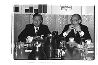 Royal Bank of Canada Alan Taylor (Left) and Rowland Frazee (Right - with glasses) adress the medias, June 8, 1985<br /> <br /> <br /> PHOTO :  Agence Quebec Presse