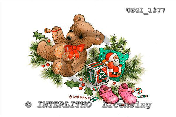 GIORDANO, CHRISTMAS ANIMALS, WEIHNACHTEN TIERE, NAVIDAD ANIMALES, Teddies, paintings+++++,USGI1377,#XA#