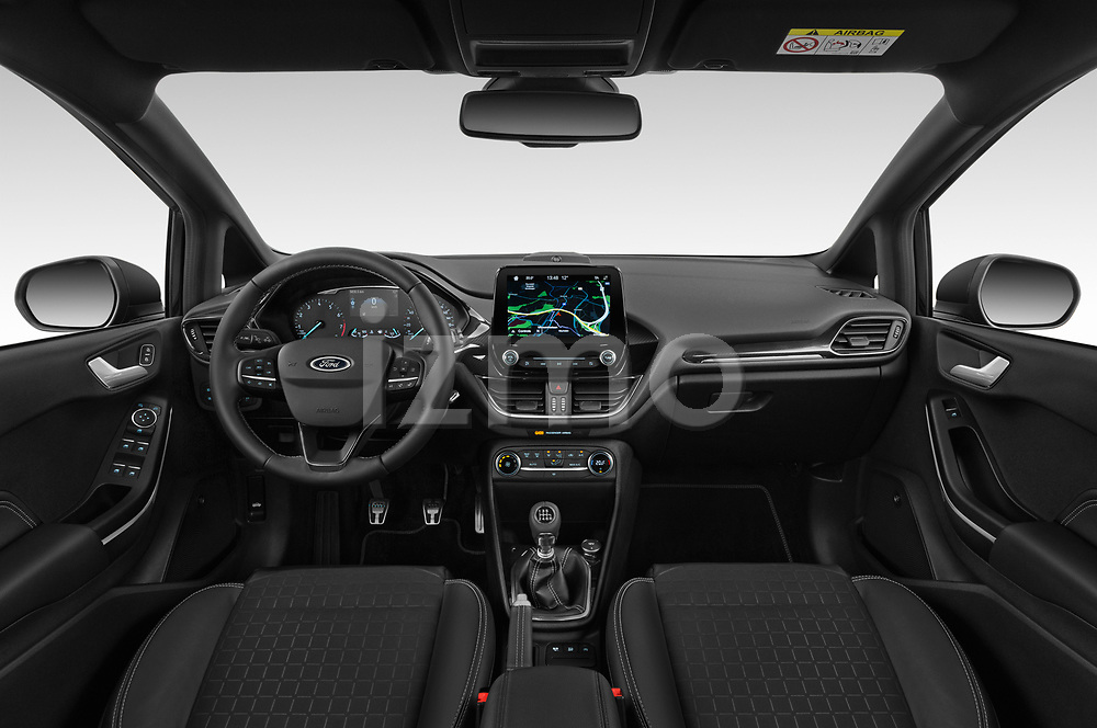 Stock photo of straight dashboard view of a 2019 Ford Fiesta  Active-3 5 Door Hatchback