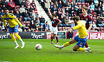 Hearts v St Johnstone....06.05.12   SPL.Cillian Sheridan's shot is saved by Mark Ridgers.Picture by Graeme Hart..Copyright Perthshire Picture Agency.Tel: 01738 623350  Mobile: 07990 594431