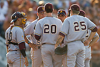 Arizona State Sun Devil Pitching Coach Ken Knutson talks with starting pitcher Brady Rodgers #20 during their game against the Texas Longhorns in NCAA Tournament Super Regional baseball on June 10, 2011 at Disch Falk Field in Austin, Texas. (Photo by Andrew Woolley / Four Seam Images)