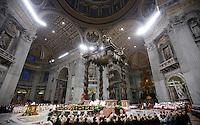 Papa Francesco celebra una messa per i religiosi e le religiose in occasione della Festa della Presentazione del Signore, nella Basilica di San Pietro, Citta' del Vaticano, 2 febbraio 2015.<br /> Pope Francis celebrates a Mass for priests and nuns on the occasion of the feast of the presentation of the Lord, in St. Peter's Basilica at the Vatican, 2 February 2015.<br /> UPDATE IMAGES PRESS/Isabella Bonotto<br /> <br /> STRICTLY ONLY FOR EDITORIAL USE
