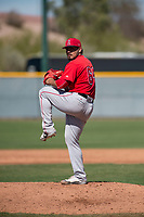 Los Angeles Angels relief pitcher Carlos Salazar (65) during a Minor League Spring Training game against the Chicago Cubs at Sloan Park on March 20, 2018 in Mesa, Arizona. (Zachary Lucy/Four Seam Images)