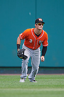 Norfolk Tides center fielder Mike Yastrzemski (3) during a game against the Rochester Red Wings on July 17, 2016 at Frontier Field in Rochester, New York.  Rochester defeated Norfolk 3-2.  (Mike Janes/Four Seam Images)