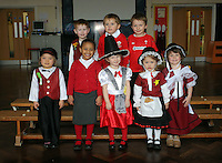 St David's Day, nursery class, at Mayals Primary School in Swansea, Wales, UK. Wednesday 01 March 2017