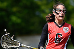 GER - Hannover, Germany, May 30: During the Women Lacrosse Playoffs 2015 match between DHC Hannover (black) and SC Frankfurt 1880 (red) on May 30, 2015 at Deutscher Hockey-Club Hannover e.V. in Hannover, Germany. Final score 23:3. (Photo by Dirk Markgraf / www.265-images.com) *** Local caption *** Erin Hamling #6 of SC 1880 Frankfurt